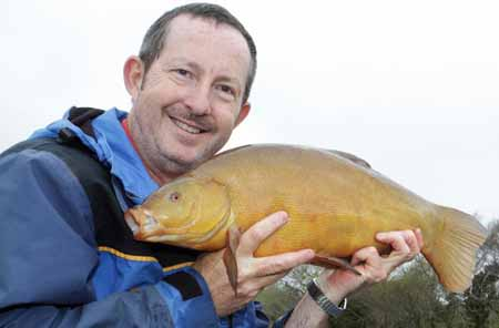 Steve Lockett with a nice tench from Aimees Pool